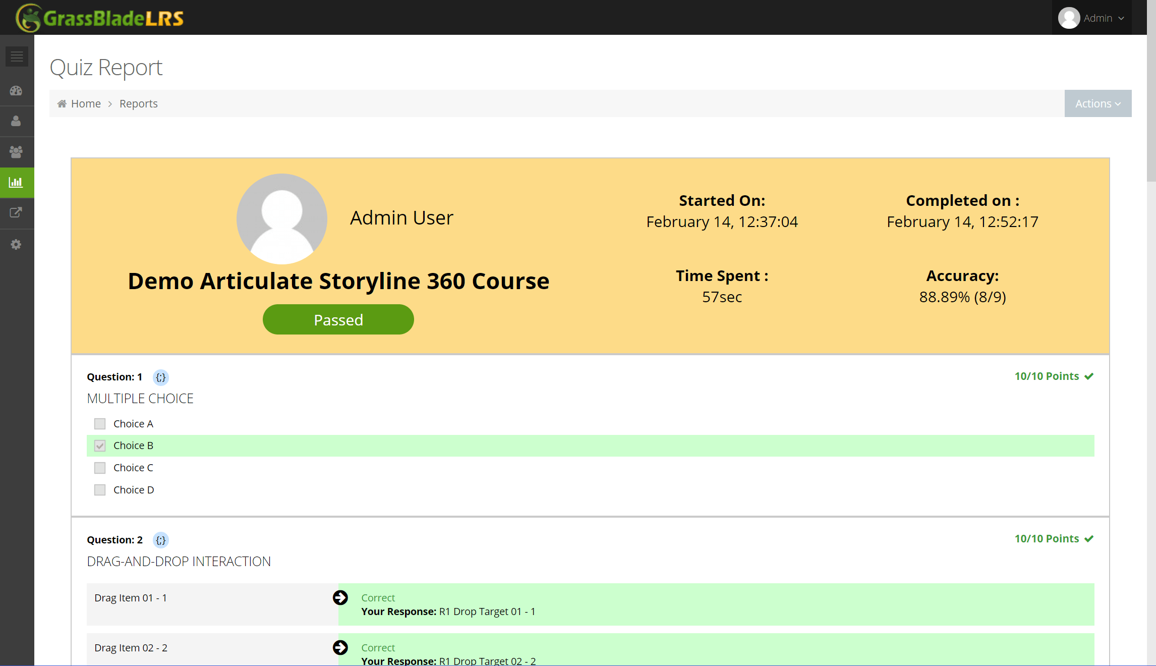 Rich Quiz reports for xAPI Content in Moodle